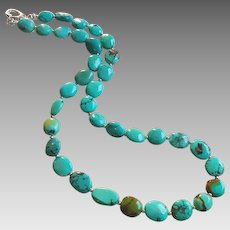 Turquoise Gem Necklace with Sterling Silver