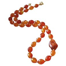 Brazilian Carnelian Gemstone Necklace with 14k Gold Fill