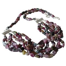 Tourmaline Tumbled Nuggets 6-Strand Necklace with Sterling Silver