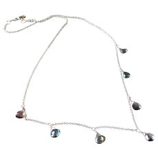 Mystic Topaz Gemstone Necklace with Sterling Silver