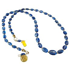 Blue Kyanite Gemstone Necklace with 14k Gold Fill