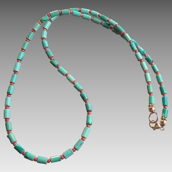 Classic Turquoise and Coral Gem Necklace with 14k Gold Fill