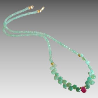 Chrysoprase Gemstone Necklace with Ruby Center and 14k Gold Fill