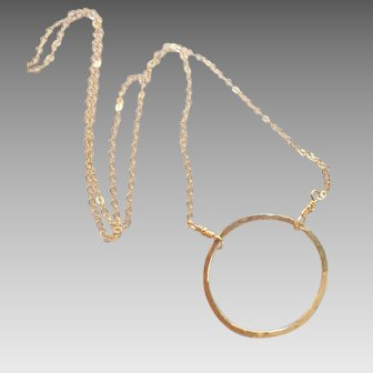 Large 14k Gold Fill Circle Necklace, Any Length