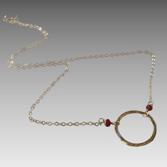 Circle Necklace with Ruby Gems and 14k Gold Fill