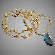 Yellow Sapphire September Birthstone Gemstone Necklace with Exquisite London Blue Topaz Center
