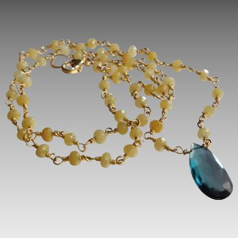 Yellow Sapphire September Birthstone Gemstone Necklace with Exquisite London Blue Topaz Center