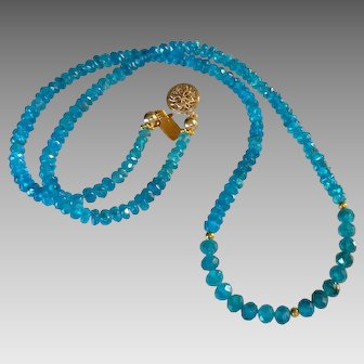 Neon Apatite Gemstone Necklace with 20k Gold Beads