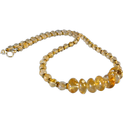 Glowing Citrine Necklace with Hematite and 14k Gold Fill