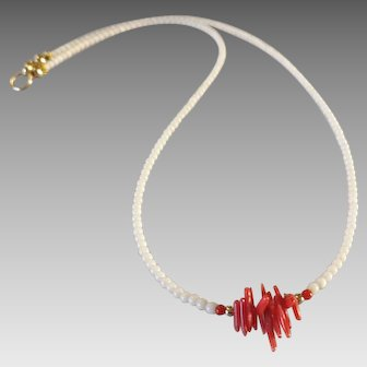 Dainty White and Red Natural Coral Necklace with 14k Gold Fill
