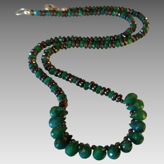 Emerald Gemstone Necklace with Pyrite and Sterling Silver