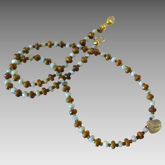 Aquamarine, Agate and Labradorite Gemstone Necklace