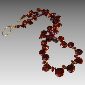 Red-Brown Freshwater Cultured Pearls and Garnet Gemstone Necklace