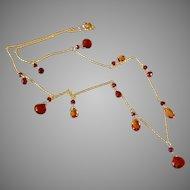 Mandarin and Mozambique Garnet Jewel Necklace