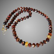 Red Tiger Eye and Citrine Gemstone Necklace with 14k Gold Fill