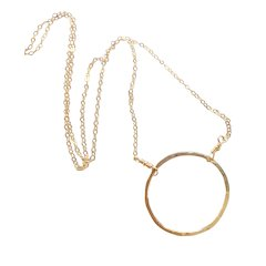 Minimalist Circle Infinity Necklace in Gold Fill, Large Size Circle, Smaller Sizes Available