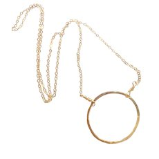 Minimalist Circle Necklace in 14k Gold Fill, Large Size Circle, Others Available