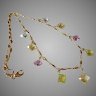 Zircon Jewel Necklace with Pink, Yellow, Lime Green and Clear Natural Gemstones