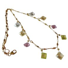 Zircon Jewel Necklace with Pink, Yellow, Lime Green and Clear Natural Zircon Gemstones and 14K Gold Fill Chain