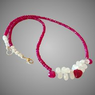 Ruby and Moonstone Gem Necklace with Sterling Silver