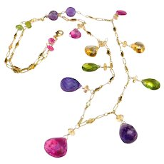 Multi-Color Fine Gemstone Necklace with 14k Gold Fill