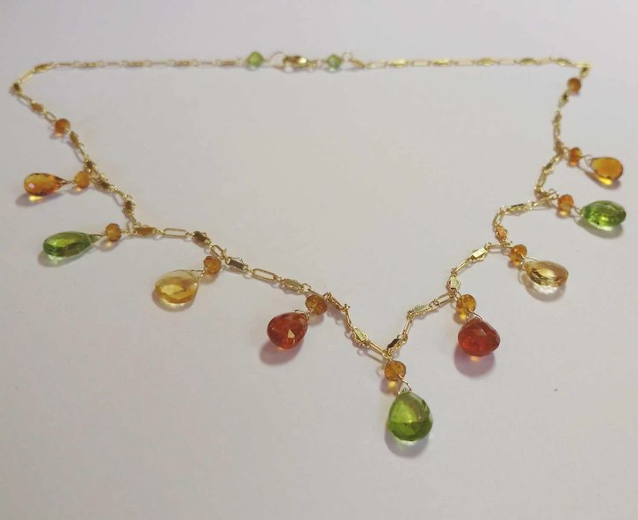 eb034b346c Jewel Necklace with Large Peridot, Citrine, Spessartite, Madeiran Citrine  Natural Gemstones
