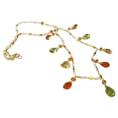 Jewel Necklace with Large Peridot, Citrine, Spessartite, Madeiran Citrine Gems and 14k Gold Fill Upscale Chain