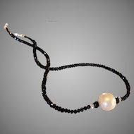 Black and White Gemstone Necklace with Spinel, Topaz, Freshwater Cultured Pearl