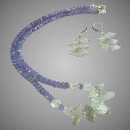 Set of Tanzanite with Prasiolite (aka Green Amethyst) Gemstone Necklace and Earrings
