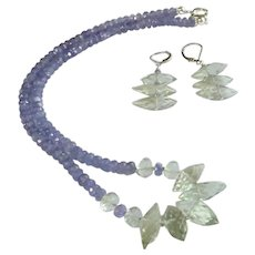 Set of Tanzanite with Prasiolite (aka Green Amethyst) Gemstone Necklace and Earrings