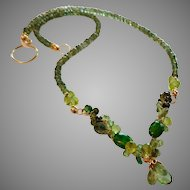 Spring Forest Sculptural Green Gemstone Statement Necklace with Gold Fill