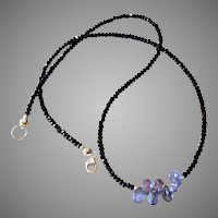 Gemstone Necklace with Black Spinel, Tanzanite and Sterling Silver