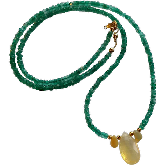 Columbian Emerald Gemstone Necklace with Welo Opal and 14k, 20k Gold