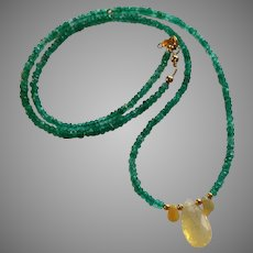 Emerald Gemstone Necklace with Opal and 14k, 20k Gold