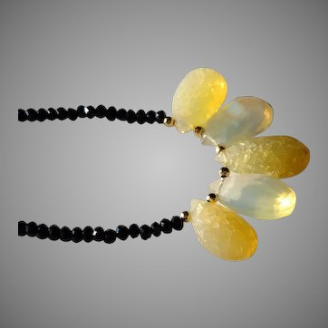 Ethiopian Welo Fire Opal and Black Spinel Gemstone Necklace with Gold Fill