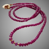 "Long Ruby Gemstone Necklace 24"" with 20k Gold Beads and Gold Fill Click-in Clasp"