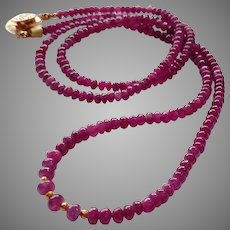 """Long Ruby Gemstone Necklace 24"""" with 20k Gold Beads and Gold Fill Click-in Clasp"""