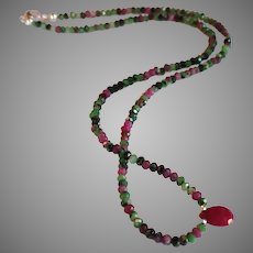 Ruby in Zoisite Gemstone Necklace with Center Ruby and Sterling Silver