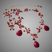 Ruby Gemstone Necklace with Gold Vermeil