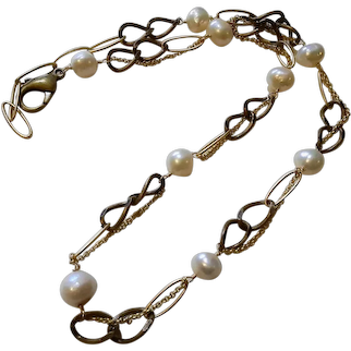 Voyage Series:Mixed Chain Necklace with Freshwater Cultured Pearls