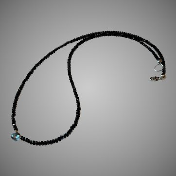 Petite Black Spinel Gemstone Necklace with Mystic Topaz Center and Sterling Silver