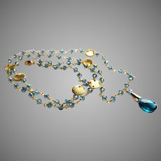 """London Blue Topaz 23"""" Gemstone Necklace with Gold Vermeil and Gold Fill"""