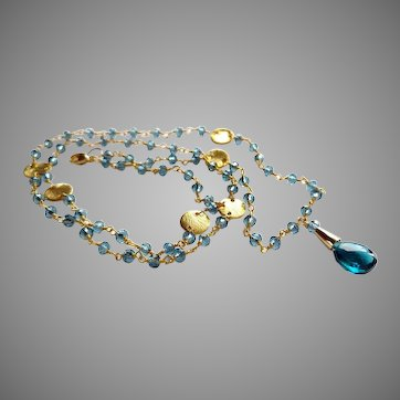 "London Blue Topaz 23"" Gemstone Necklace with Gold Vermeil and Gold Fill"