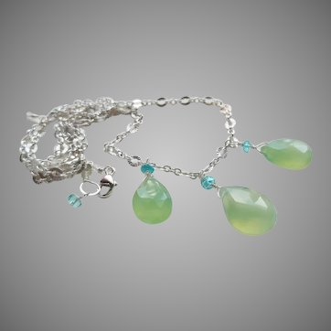 Glowing Yellow-Green Prehnite Gemstone Necklace with Sterling Silver