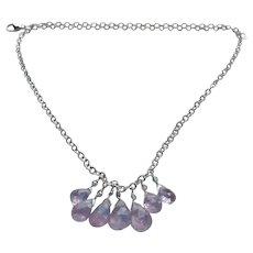 Rare Lavender-Pink Translucent Kunzite Fine Gemstone Necklace with Sterling Silver