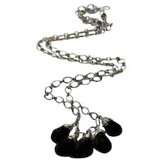 Sterling Silver Chain Necklace with Black Spinel Drops