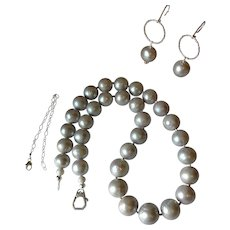 Dove Gray Set: XL Cultured Pearl Necklace and Earrings with Sterling Silver