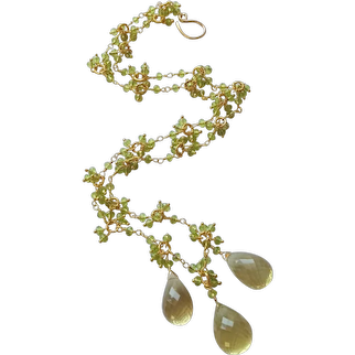 Lemon Quartz and Peridot Gemstone Necklace with Gold Fill and Gold Vermeil