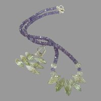 Tanzanite and Green Amethyst Necklace and Earrings with Sterling Silver