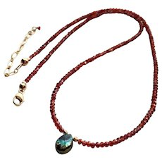 Garnet (January Birthstone) Gemstone Necklace with Gold Fill Clasp and Extender Chain